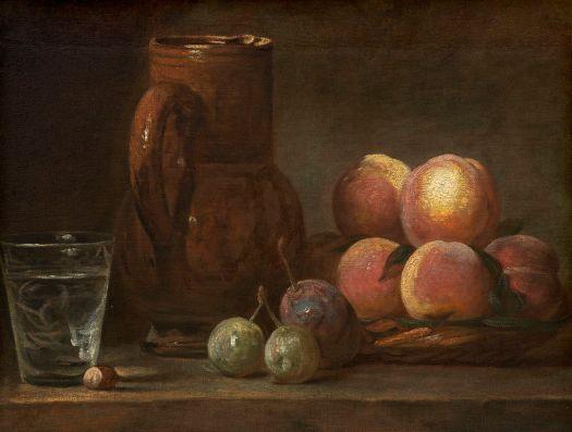 Jean-Baptiste-Siméon Chardin, «Frutas, Jarro e um Copo - Natureza Morta», 1728