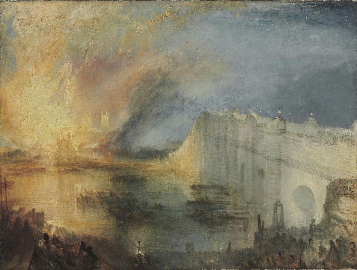 William Turner, O incêndio na câmara dos comuns, 1835